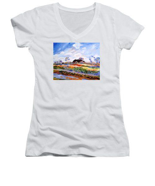 Monet's Tulips Women's V-Neck T-Shirt