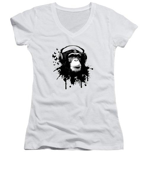 Monkey Business Women's V-Neck T-Shirt (Junior Cut) by Nicklas Gustafsson
