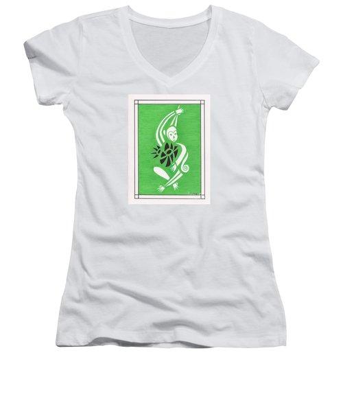 Monkeying Around -- Whimsical Stylized Monkey Women's V-Neck T-Shirt