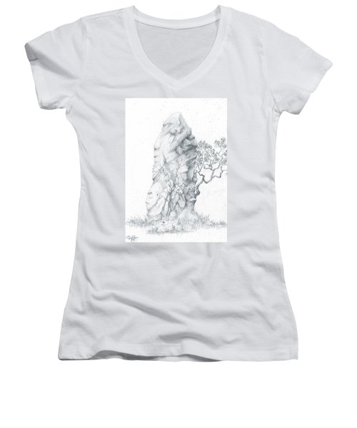 Women's V-Neck T-Shirt (Junior Cut) featuring the drawing Monolith 2 by Curtiss Shaffer