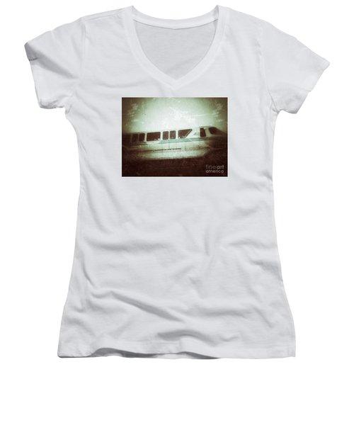 Monorail Women's V-Neck T-Shirt (Junior Cut) by Jason Nicholas