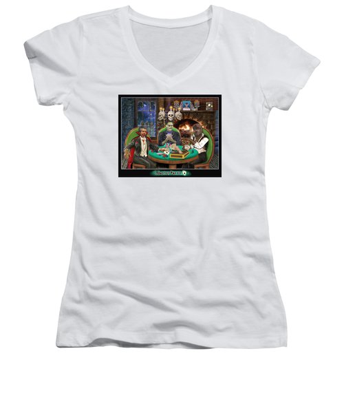 Monster Poker Women's V-Neck T-Shirt (Junior Cut) by Glenn Holbrook