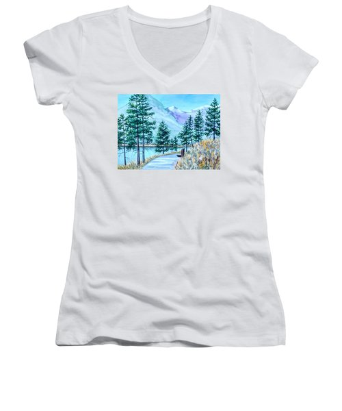 Montana Lake Como With Bench Women's V-Neck (Athletic Fit)