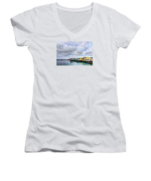 Monterey Wharf  Women's V-Neck T-Shirt (Junior Cut) by Derek Dean