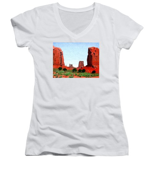 Monument Valley North Window Women's V-Neck T-Shirt (Junior Cut) by Mike Robles