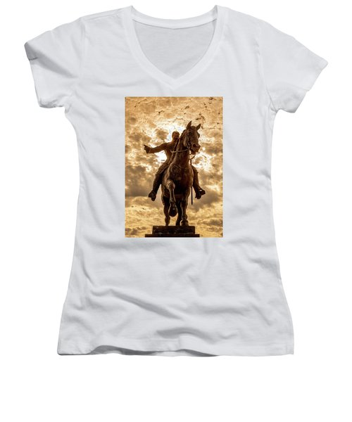 Women's V-Neck T-Shirt (Junior Cut) featuring the photograph Monumento A Calixto Garcia Havana Cuba Malecon Habana by Charles Harden