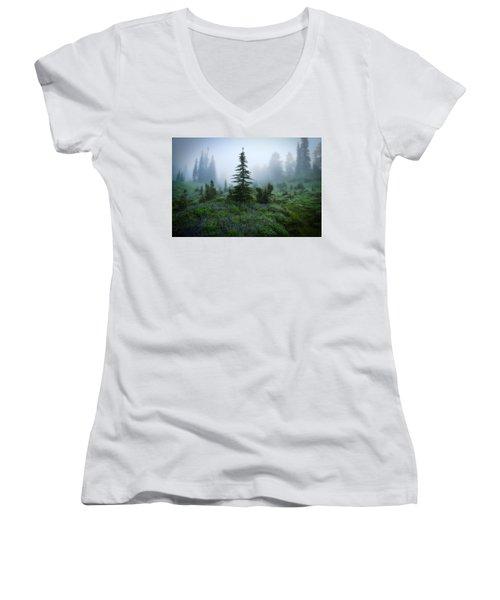 Moody Myrtle Falls Trail At Mount Rainier Women's V-Neck T-Shirt (Junior Cut) by Lynn Hopwood