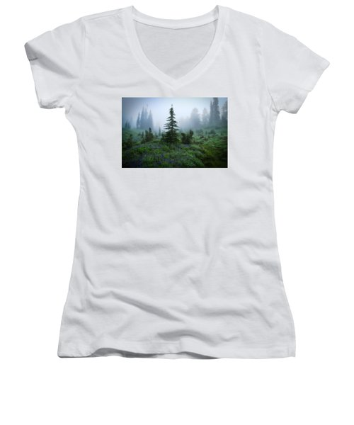 Moody Myrtle Falls Trail At Mount Rainier Women's V-Neck T-Shirt