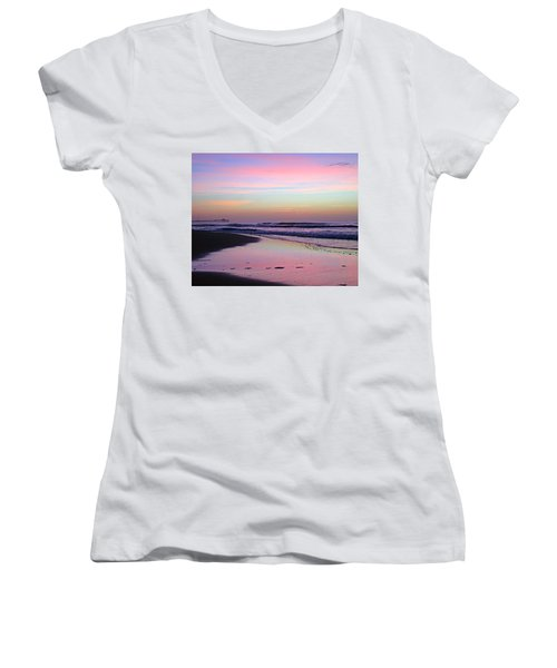 Moody Sunrise Women's V-Neck T-Shirt (Junior Cut) by Betty Buller Whitehead