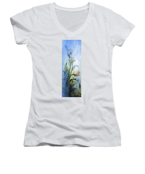Women's V-Neck T-Shirt featuring the painting Moody Tulips by Hanne Lore Koehler