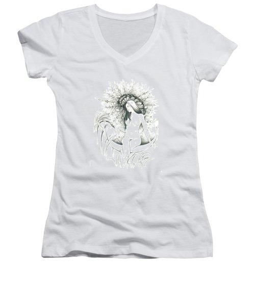 Moon Dew Women's V-Neck T-Shirt (Junior Cut) by Anna Ewa Miarczynska