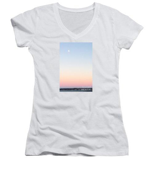 Moon In Twilight Sky Women's V-Neck T-Shirt (Junior Cut)