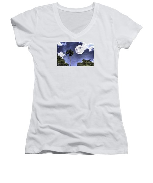 Moon Over Belize Two Women's V-Neck T-Shirt (Junior Cut) by Ken Frischkorn