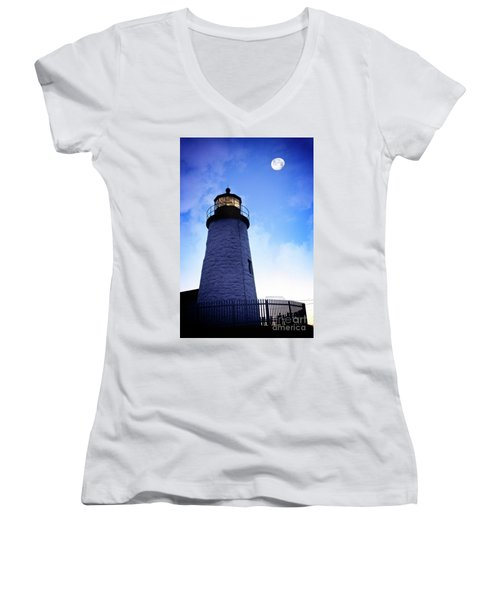 Moon Over Lighthouse Women's V-Neck (Athletic Fit)