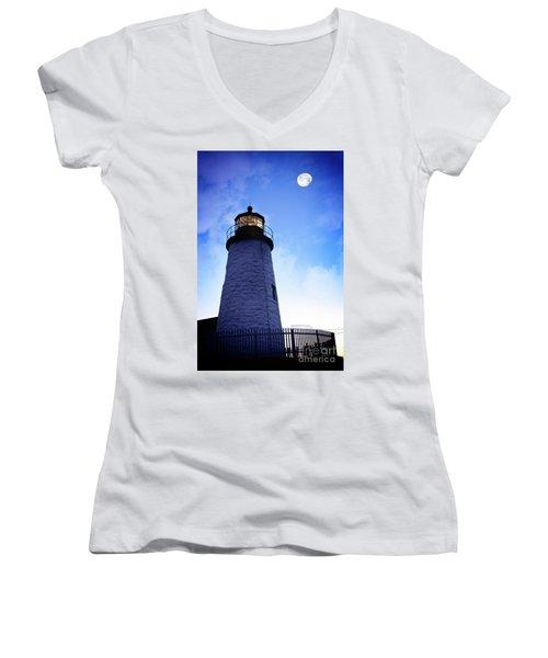 Moon Over Lighthouse Women's V-Neck T-Shirt