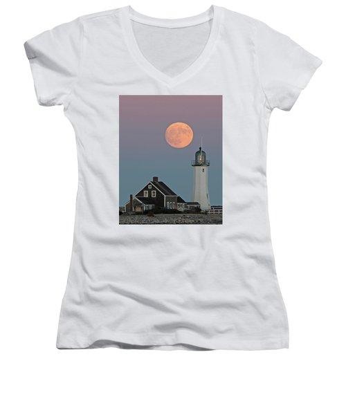 Moon Rise Over Scituate Women's V-Neck T-Shirt
