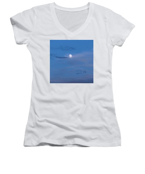 Moon Rises Geese Fly Women's V-Neck T-Shirt