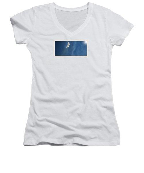 Moon Roof  Women's V-Neck T-Shirt (Junior Cut) by Laura Ragland