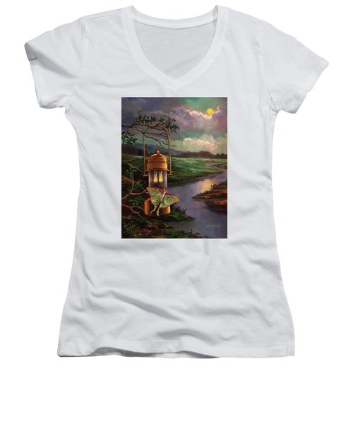 Moonlight, Silhouettes And Shadows Women's V-Neck