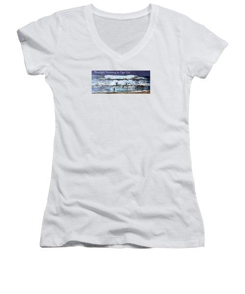 Moonlight Swimming On Cape Cod Women's V-Neck T-Shirt (Junior Cut) by Rita Brown
