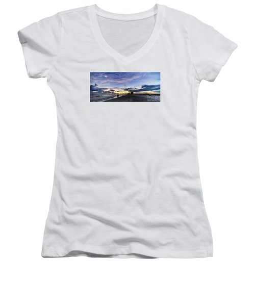 Moonlit Beach Sunset Seascape 0272b1 Women's V-Neck