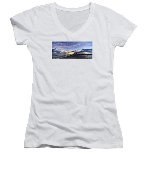 Moonlit Beach Sunset Seascape 0272b1 Women's V-Neck (Athletic Fit)