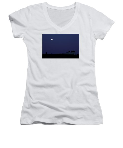Moonrise At Blue Hour Over Griffith Observatory In Los Angeles Women's V-Neck (Athletic Fit)