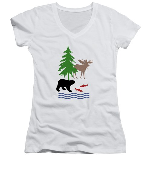 Moose And Bear Pattern Art Women's V-Neck T-Shirt (Junior Cut) by Christina Rollo