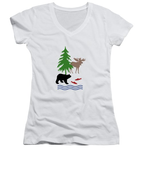 Moose And Bear Pattern Women's V-Neck T-Shirt (Junior Cut) by Christina Rollo