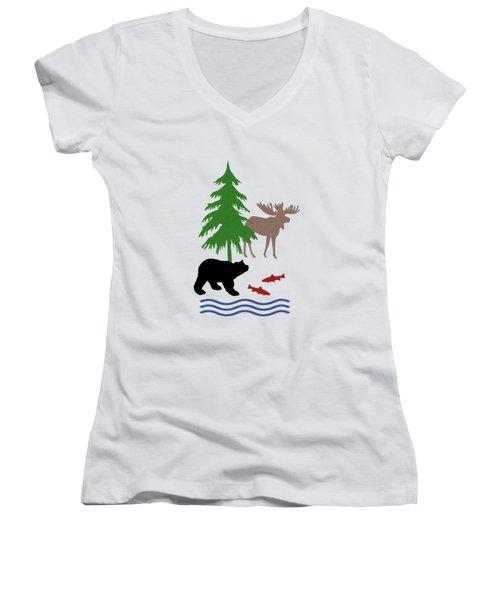 Moose And Bear Pattern Women's V-Neck