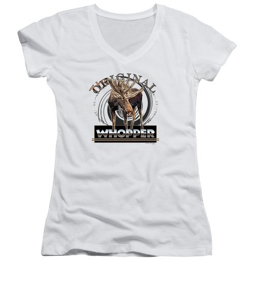 Moose Whooper Women's V-Neck T-Shirt (Junior Cut) by Susan Kinney