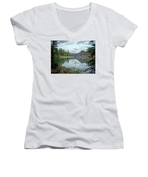 Moraine Lake Canadian Rockies Women's V-Neck T-Shirt (Junior Cut) by Lynn Bolt