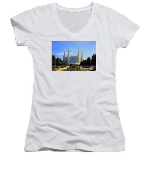 Mormon Temple Dc Women's V-Neck (Athletic Fit)