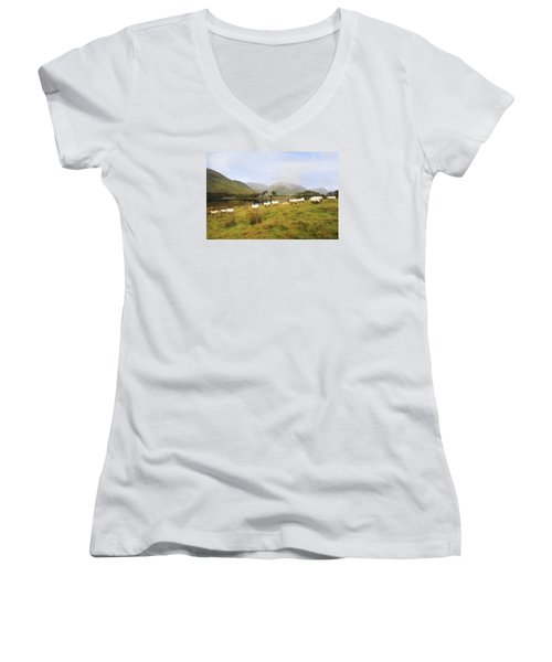 Morning At Kilchurn Women's V-Neck T-Shirt (Junior Cut) by Roy  McPeak