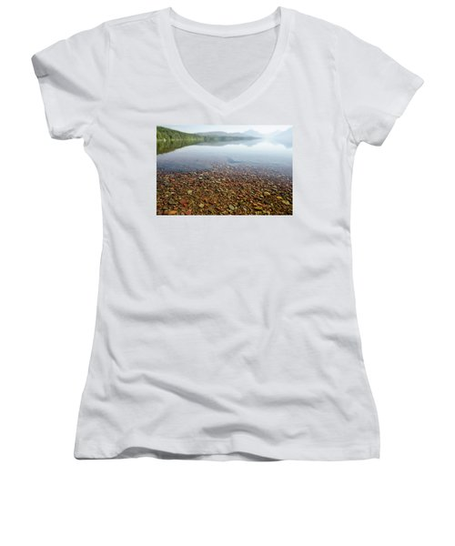 Morning At Lake Mcdonald Women's V-Neck (Athletic Fit)
