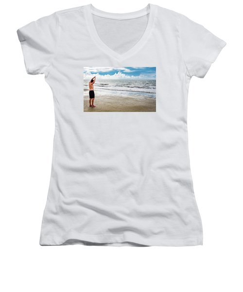 Morning Beach Workout Women's V-Neck (Athletic Fit)