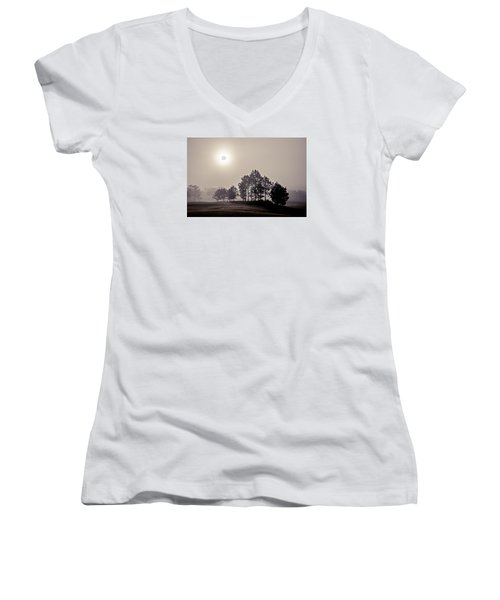 Women's V-Neck T-Shirt (Junior Cut) featuring the photograph Morning Calm by Annette Berglund
