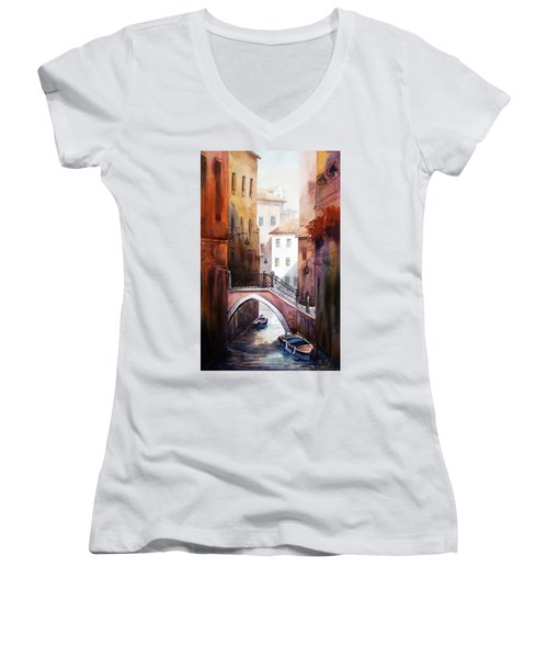 Women's V-Neck T-Shirt (Junior Cut) featuring the painting Morning Canals by Samiran Sarkar