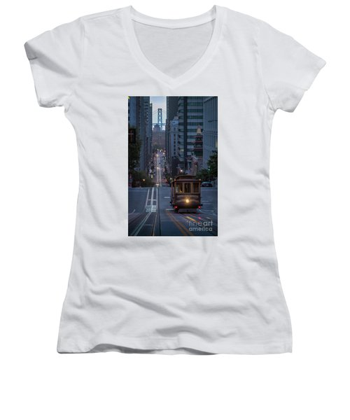 Morning Commute Women's V-Neck T-Shirt (Junior Cut) by JR Photography