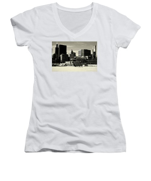 Morning Dog Walk - City Of Chicago Women's V-Neck