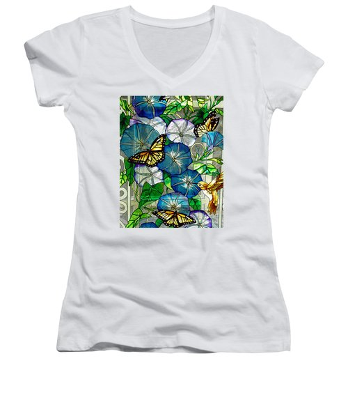 Morning Glory Women's V-Neck T-Shirt (Junior Cut) by Diane E Berry