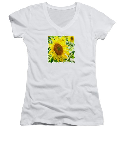 Morning Glory Farm Sun Flower Women's V-Neck T-Shirt (Junior Cut) by Vinnie Oakes