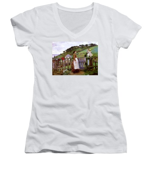 Women's V-Neck T-Shirt (Junior Cut) featuring the painting Morning Gossip by Henry Scott Tuke