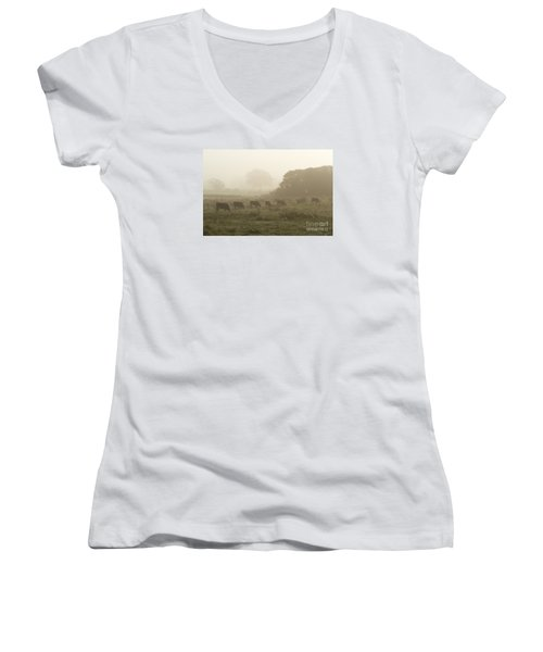 Women's V-Neck T-Shirt (Junior Cut) featuring the photograph Morning Graze by Gary Bridger