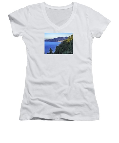 Morning Light At Crater Lake, Oregon Women's V-Neck T-Shirt (Junior Cut) by Nancy Marie Ricketts
