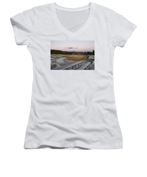 Morning Light At Old Faithful Women's V-Neck T-Shirt (Junior Cut) by Shirley Mitchell