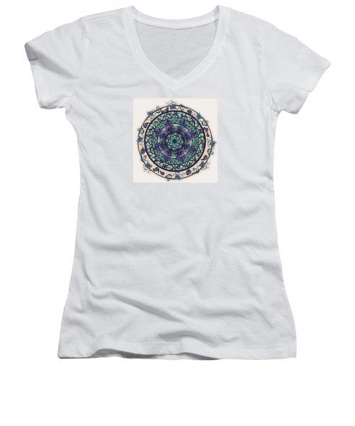 Morning Mist Mandala Women's V-Neck T-Shirt (Junior Cut) by Deborah Smith