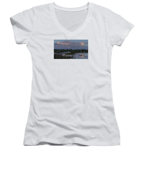 Morning Reflections Over The Wetlands Women's V-Neck