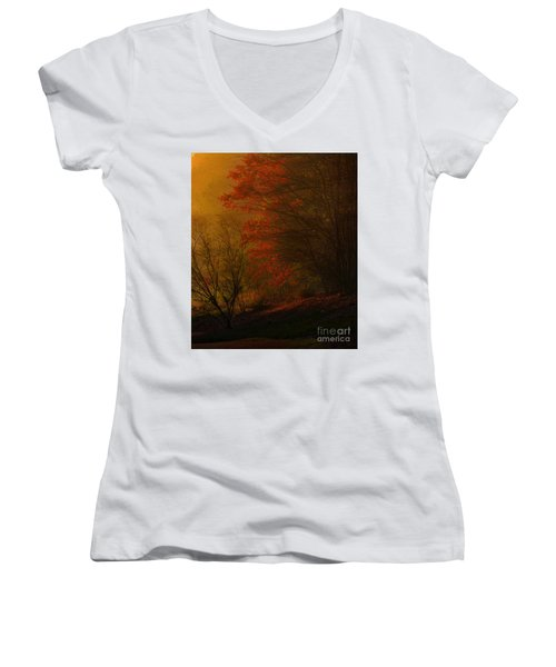 Morning Sunrise With Fog Touching The Tree Tops In Georgia. Women's V-Neck