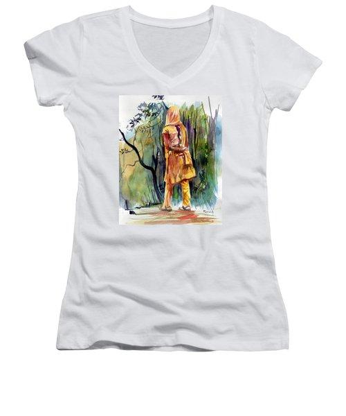 Morning Walk Women's V-Neck T-Shirt